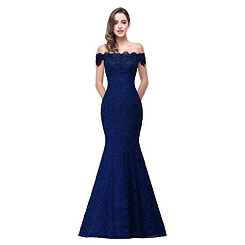 Womens Prom Dresses Lace and Beaded Off-Shoulder Mermaid Evening Dress ,Navy,16