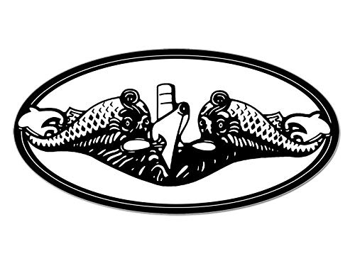 (MAGNET 3x5 inch Oval Submarine Warfare Dolphins Insignia Sticker -decal navy logo fish Magnetic vinyl bumper sticker sticks to any metal fridge, car, signs)