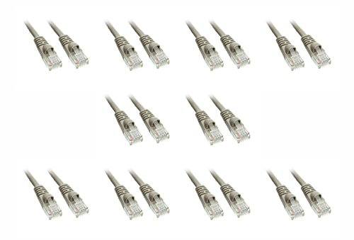C&E 10 Pack Cat5e Ethernet Patch Cable, Snagless/Molded Boot 3 Feet Gray, CNE17205