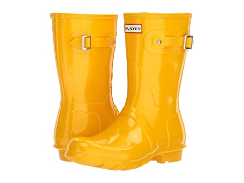 Hunter Womens Original Tall Gloss Waterproof Rubber Rain Boot Wellington - Yellow - 7