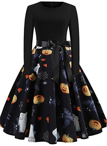 Halloween Dresses Womens Long Sleeve Cocktail Swing Dress Skeleton Pumpkin Printed Cosplay Party ()