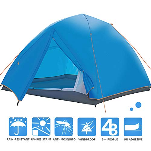 JPFS 3-4 Person Double Layer Waterproof Camping Family Tent for 3 Seasons