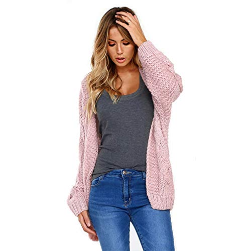 Saherewanr Women's Long Sleeve Open Front Chunky Warm Cardigan Pointelle Cable Sweater Blouses Coat Outwear Fall Winter Shawl Collar (Pink, L)