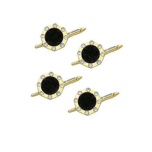 14K Yellow Gold Diamond And Onyx Shirt Stud Set-88780
