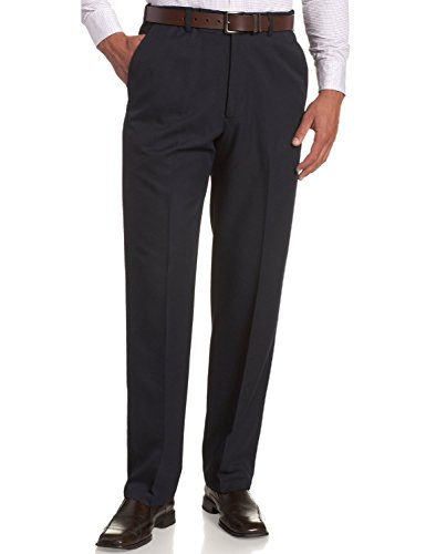 Navy Mens Plain Front Pants - Sportoli Men's Cool Classic Fit Hidden Expandable Waist Plain Front Dress Pants - Navy (Size 32W x 32L)