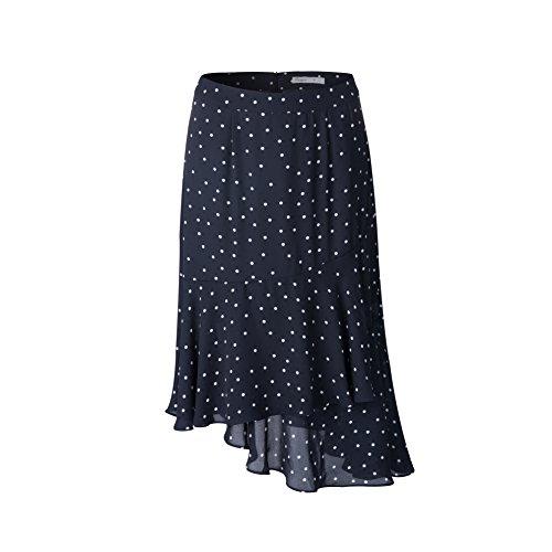 Tronjori Womens A Line Dot Print Skirt Flared Hem (M, Navy White Dot)