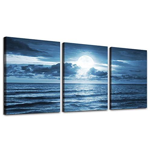 Blue Sea Framed - 3 Piece Canvas Wall Art Living Room - Blue sea View The Moon Landscape - Modern Home Decor Room Stretched Framed Ready to Hang - 12