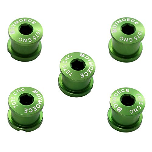 Dymoece 7075 Aluminum Alloy Double Chainring Bolts for Road MTB Bicycle M8 Crankset (Green)