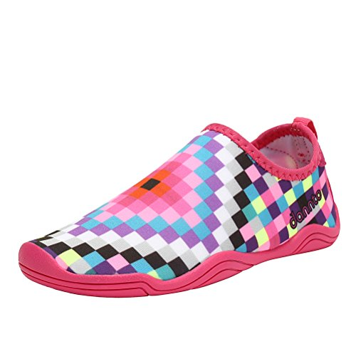 Boys Wide Water Shoes - Dannto Kid's Lightweight Aqua Socks Quick Dry Slip On Water Shoes For Beach Swim Surf Yoga Pool(Pink-DT660,35)