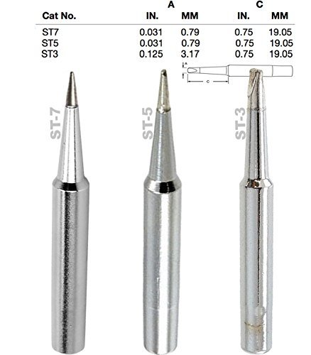 (Weller, Screwdriver, Single Flat, Conical Tips, Tip Nozzle for SP40L, SP40N, WLC100, WP25, WP40, WP30 WP35, Tinned with Lead Free Alloy, (ST-3, TS-5, ST-7) One of Each)