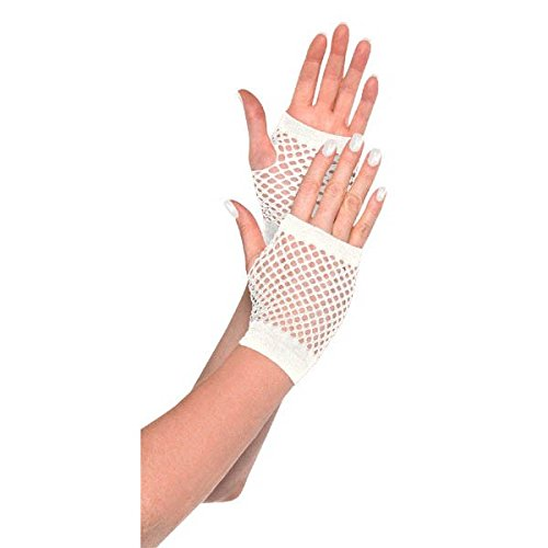 Amscan Short Fishnet Gloves, Party Accessory, White - Girls White Fishnet