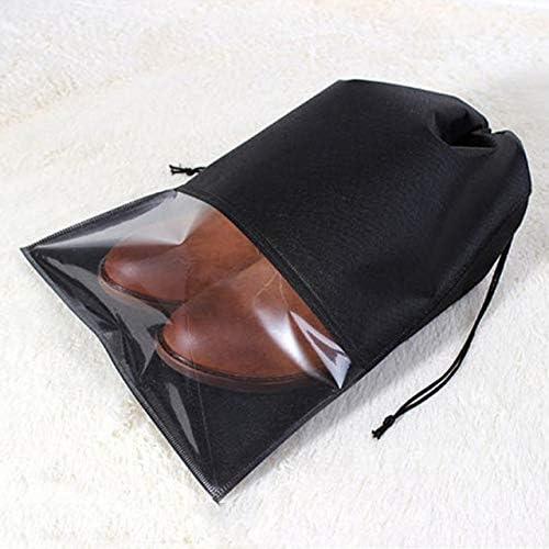 QUAN Storage Bag 靴バッグ10 PCS防水シューズ収納バッグポーチポータブルトラベルオーガナイザー巾着バッグカバー不織布主催、サイズ:27x36cm(ブラック) (色 : Black)