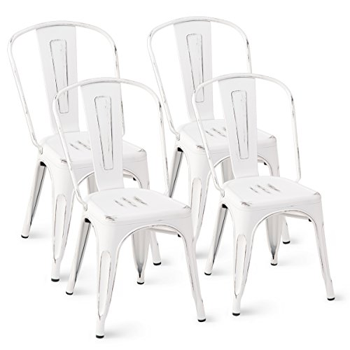 Costway Tolix Style Dining Chairs Metal Industrial Vintage Chic High Back Indoor Outdoor Dining Bistro Café Kitchen Side Stackable Chair Set of 4 (White)