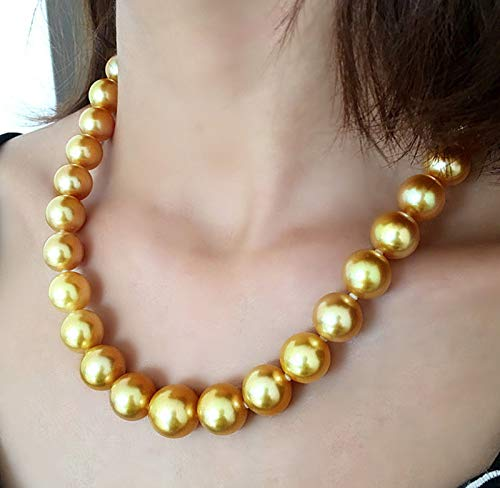 Madame Jewelry Huge 14mm Genuine Golden South Sea Shell Pearl Round Beads Necklace 18'' AAA