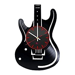 Handmade Modern Decorative Vinyl Record Wall Clock - Get unique bedroom or kitchen wall decor - Gift ideas for women and girls - Electric Guitar Ornament Unique Modern Art