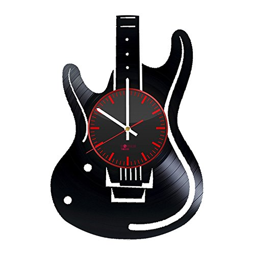 Handmade Modern Decorative Vinyl Record Wall Clock - Get unique bedroom or kitchen wall decor - Gift ideas for women and girls – Electric Guitar Ornament Unique Modern Art ()