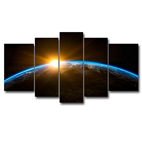 5 Panel Sunrise Earth Planetary Modern Canvas Oil Painting Space Picture Wall Decor The Universe Galaxies Circle Round In The Sky Print For Home Decoration HD Giclee Landscape Artwork by uLinked Art
