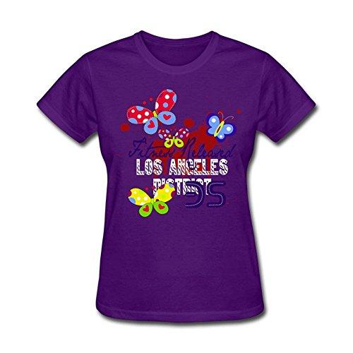 Design Tee Women's Butterfly Fitness Releaved T Shirt O-Neck Basic Tee Purple XL