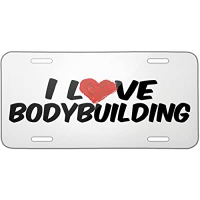 Metal License Plate I Love Bodybuilding - Neonblond