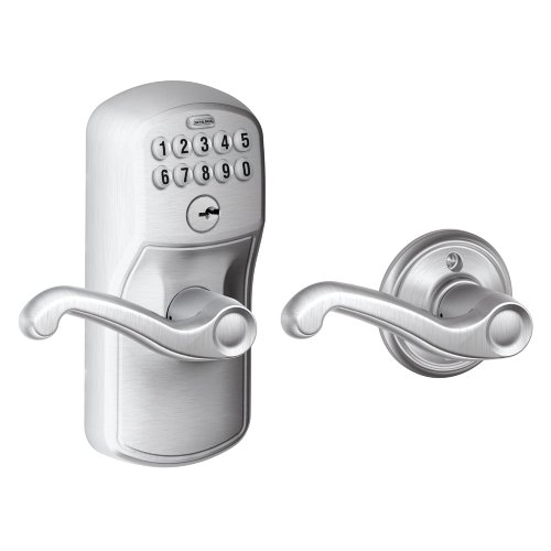 Schlage FE575 PLY 626 FLA Plymouth Keypad Entry with Auto-Lock and Flair Levers, Brushed Chrome