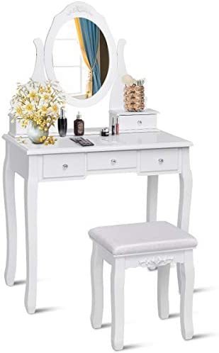 Giantex Vanity Set with Oval Mirror Cushioned Stool, Makeup Dressing Table Large Storage with 5 Drawers, Mirrored Bedroom Vanities Makeup Table for Kids Girls Women, Easy Assembly, White
