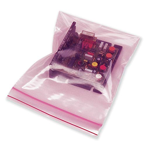 100 Pack Pink Anti Static Bags 4 x 6. Reclosable Packing Bags 4x6. Resealable Polyethylene Storage Bags 4 Mil. Zipper Lock Heavy Duty Plastic Bags for Electronic Parts, Circuit Boards, - Static Anti Device