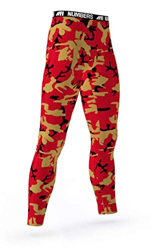 Numbers Athletics Full Length Tights- Assail Lord (Red, Black, Gold) Boys Mens Girls Womens Basketball Football Compression Tights Sports Pants Baselayer Running Leggings to Match Uniforms