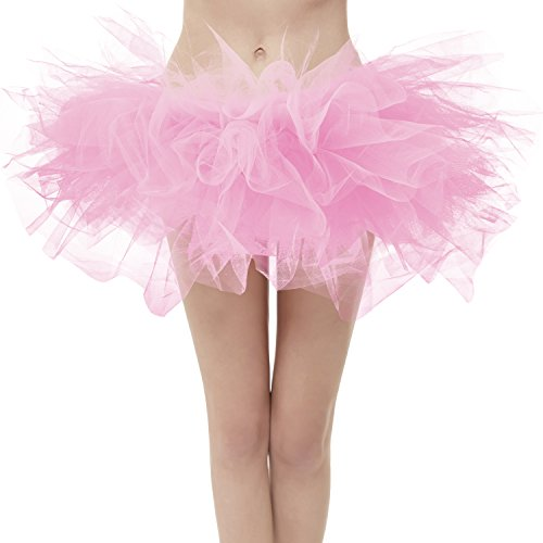 (Dresstore Women's Vintage 5 Layered Tulle Tutu Puffy Ballet Bubble Skirt Pink Plus)