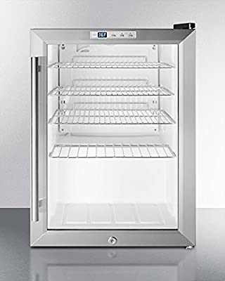 Summit SCR312L Commercially Approved Countertop Beverage Cooler With Glass Door, Black Cabinet, Front Lock, and Digital Thermostat; Replaces Scr310l
