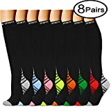 Compression Socks (8 Pairs)15-20 mmhg is BEST Graduated Athletic & Medical for Men & Women, Running, Travel, Nurses, Pregnant - Boost Performance, Blood Circulation & Recovey(Small/Medium, Assorted16)