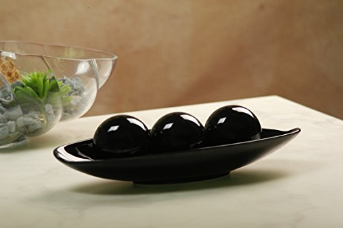 Large Product Image of Hosley Black Decorative Bowl and Orb Set. Ideal GIFT for Weddings, Special Occasions, and for Decorative Centerpiece in Your Living/Dining Room O3