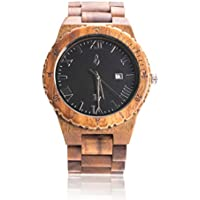 Wooden Wrist Watch for Men - Koa Wood/Sapphire Crystal Dial Window/Wood Watch Band/Analog Citizen Movement - Includes Logo Stamped Box