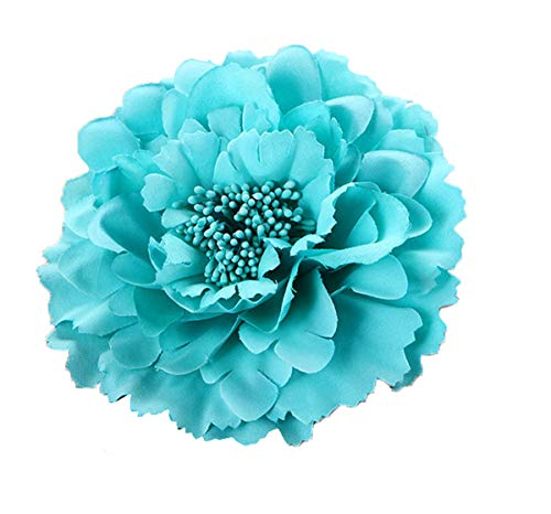 Turquoise Blue Flower - HC-01 Floral Fall Peony Flower Hair Clip Flamenco Dancer Pin up Flower Brooch (Turquoise)