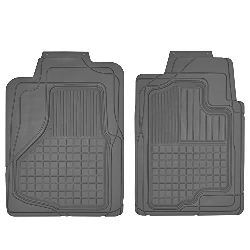 (Motor Trend MT-150-GR 2 Front Weather Semi-Custom Heavy Duty Rubber Floor Mats for Auto Car Truck SUV-Gray)