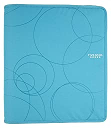Five Star Zipper Binder, 1.5-Inch Capacity, 13.62 x 12.12 x 2.38 Inches, Teal with Circles (72358)