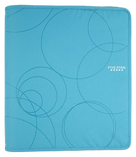 five-star-zipper-binder-15-inch-capacity-1362-x-1212-x-238-inches-teal-with-circles-72358