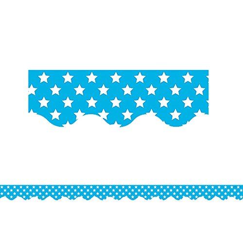 Teacher Created Resources Aqua with White Stars Scalloped Border Trim (5810)