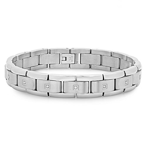 "Men's Titanium .15cttw White Diamond Bracelet, 8.5"" (Bracelet Titanium Diamond Mens)"