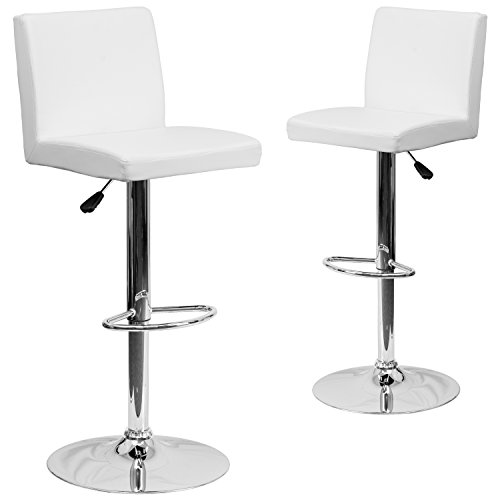 (Flash Furniture 2 Pk. Contemporary White Vinyl Adjustable Height Barstool with Chrome)