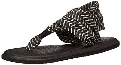 Sanuk Women's Yoga Sling 2 Prints Flip Flop, Black/Natural Congo, 8 M -
