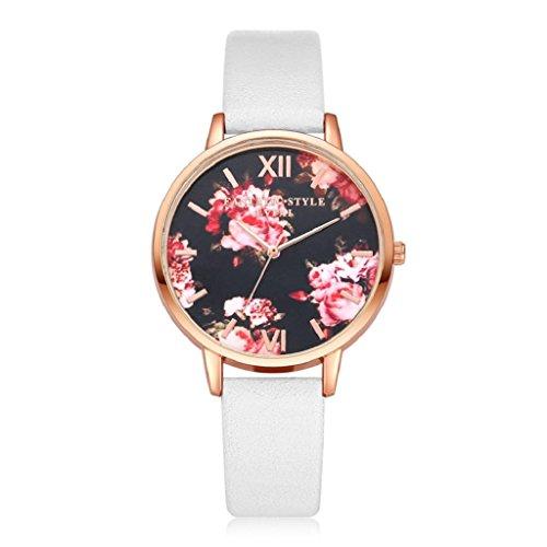 Women Quartz Wristwatch,Hosamtel LVPAI Flower Pattern Clock Lady Dress Gift Watch (White) ()
