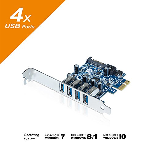 Mediasonic HP1-U34F 4 Ports External USB 3.0 PCI Express Card
