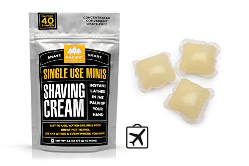 Moisturizing Bikini Cream (Pacific Shaving Company - SHAVING CREAM MINIS - Convenient Single-Use Shave Cream Pods in water soluble film. Safe Ingredients; Instant Lather. Perfect for Home, Travel, Gym/TSA Friendly (40 pack))