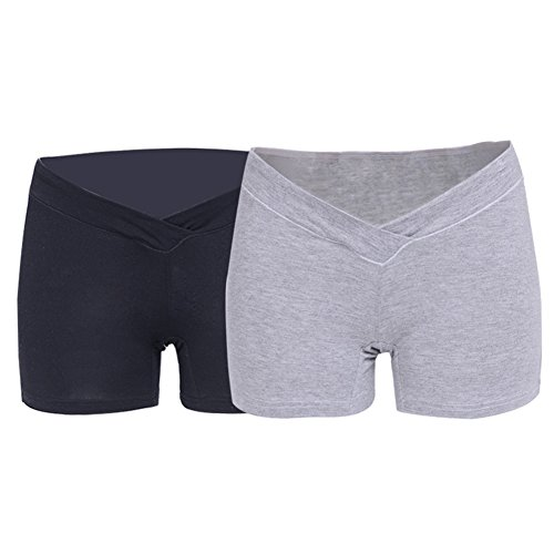 maternità Grigio mutandine Comodità di vita in gravidanza in a di Pantaloni biancheria Pantaloni intima 2 Nero bassa di Dingcaiyi cotone 7wH8OTwq