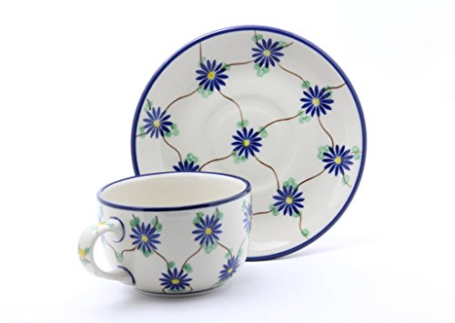 Ceramika Artystyczna Handmade Ceramic Tea Cup and Saucer Polish Pottery Hand Painted Hand Made