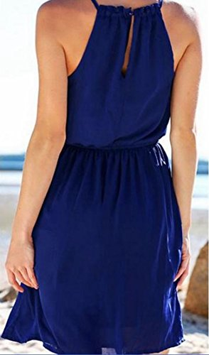 Mini Women's Dress Blue Chiffon Summer Jaycargogo Sleeveless Halter 8qBCnC