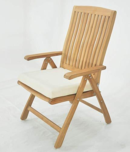 Grade-A Teak Wood Luxurious Reclining Folding Arm / Captain Dining Chair [Model: Marley] #WHDCARMR (Chair Teak Folding)
