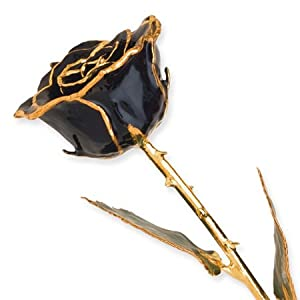 Allmygold Jewelers Long Stem 24k Dipped Gold Trim Black Rose with Gift Box 82