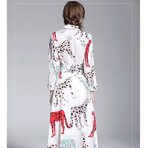 Con Manga Cintura Estampado Botones Solapa Maxi Larga Vestido Alta White Animados Dibujos Y De wZxETInnq