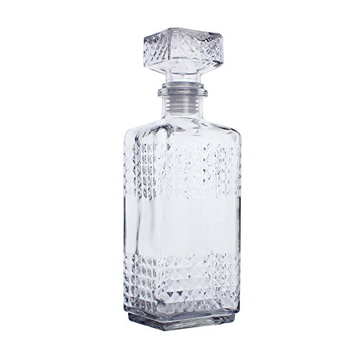 Glass Decanter with Airtight Square Stopper - Whiskey Decanter for Wine, Bourbon, Brandy, Liquor | 23.75 oz by Krystallo